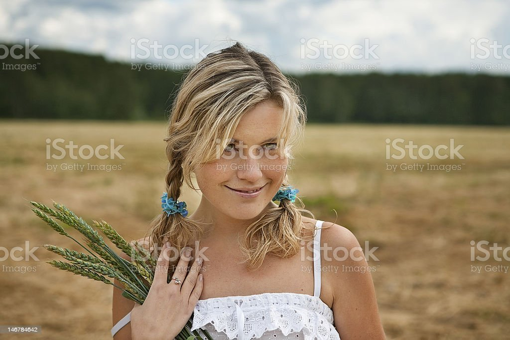 portrait of beautiful white-hair girl with green ears outdoor royalty-free stock photo