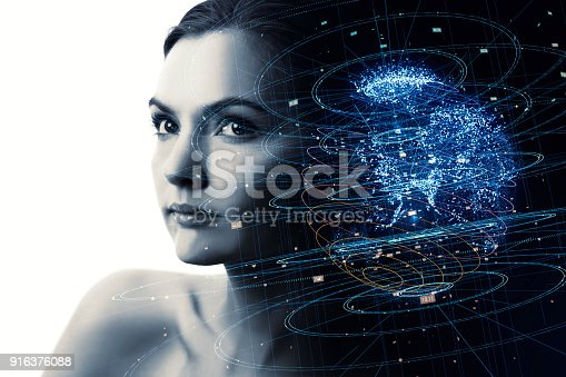istock Portrait of beautiful woman and global communication network concept. AI(Artificial Intelligence). IoT(Internet of Things). 916376088