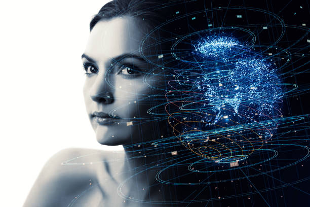 Portrait of beautiful woman and global communication network concept. AI(Artificial Intelligence). IoT(Internet of Things). stock photo