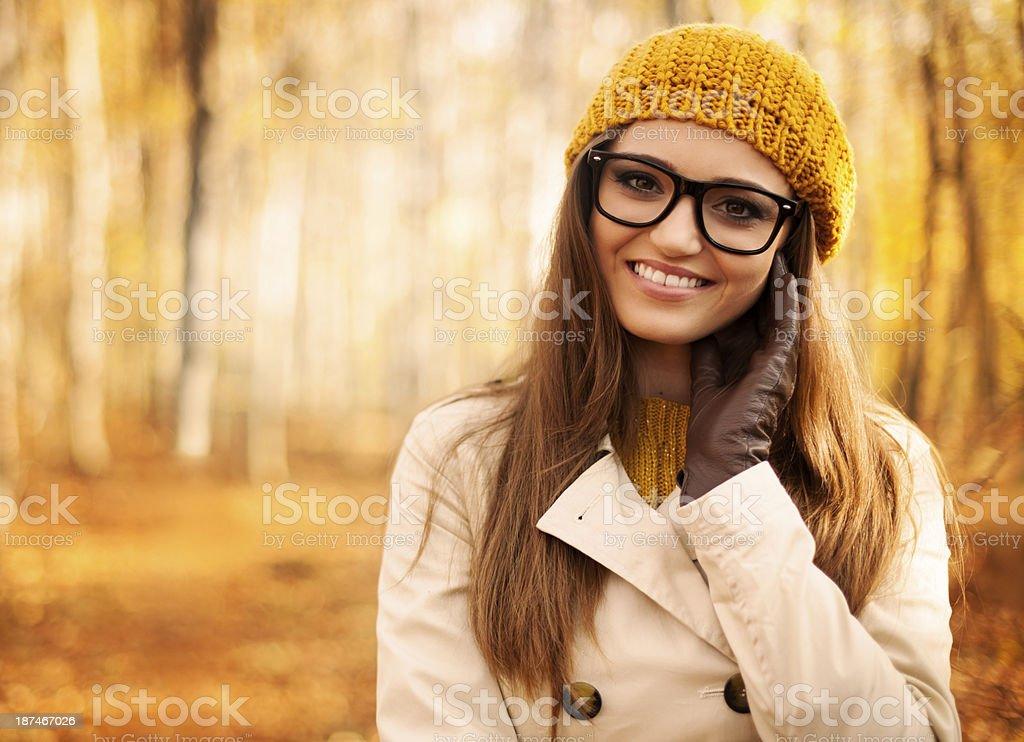 Portrait of beautiful woman at autumn stock photo