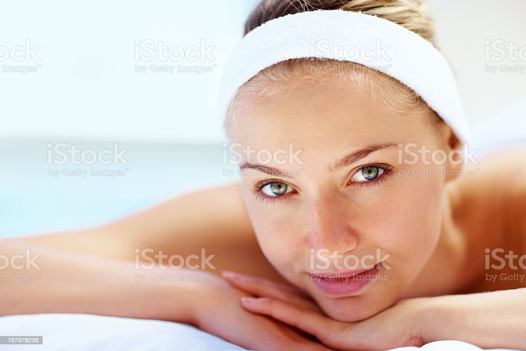 Portrait of beautiful woman at spa treatment royalty-free stock photo