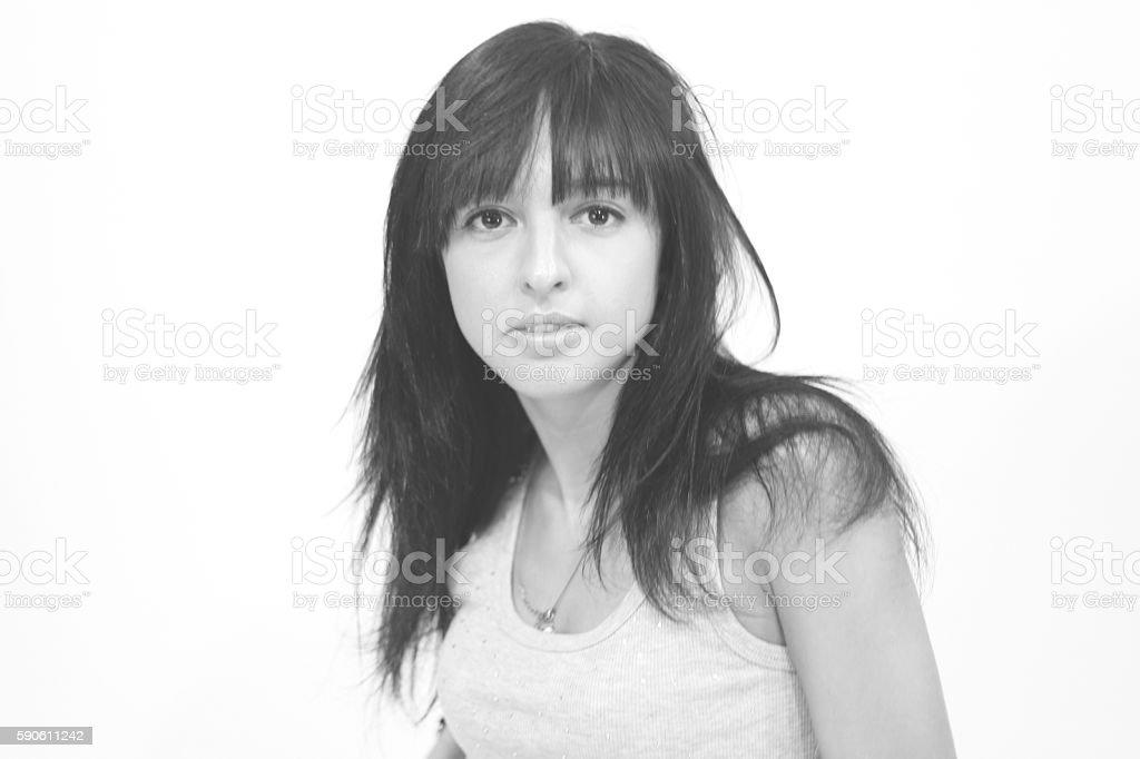 Portrait of beautiful  woman, black and white stock photo