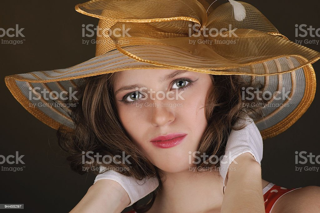 portrait of beautiful  woman in a hat royalty-free stock photo