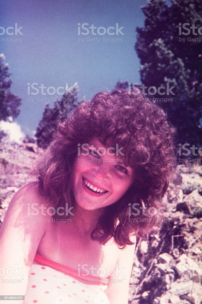Portrait of beautiful woman in Soviet Russia 80's. stock photo