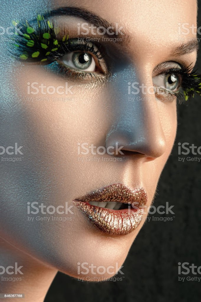 dfa4ac0b4c6 Portrait of beautiful woman in studio with big false eyelashes royalty-free  stock photo