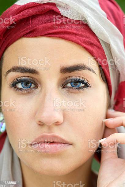 Portrait of Beautiful Woman in Turban