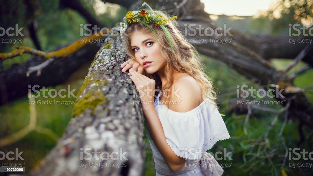 Портрет Красивая женщина в лесу стоковое фото