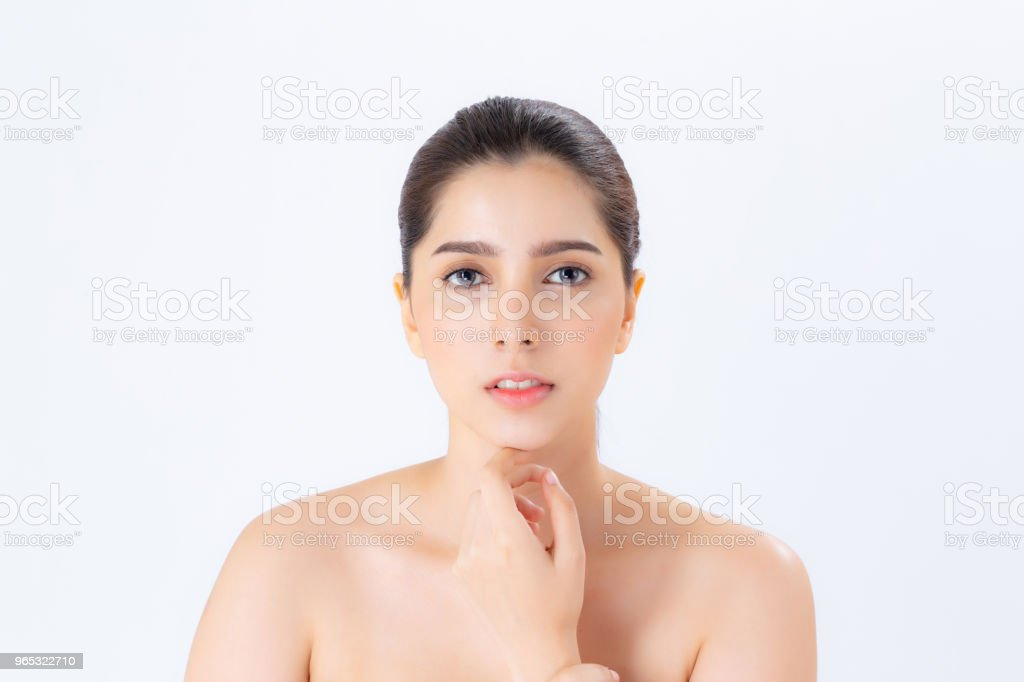 Portrait of beautiful woman makeup of cosmetic, girl hand touch chin and smile attractive, face of beauty perfect with wellness isolated on white background with skin healthcare concept. royalty-free stock photo