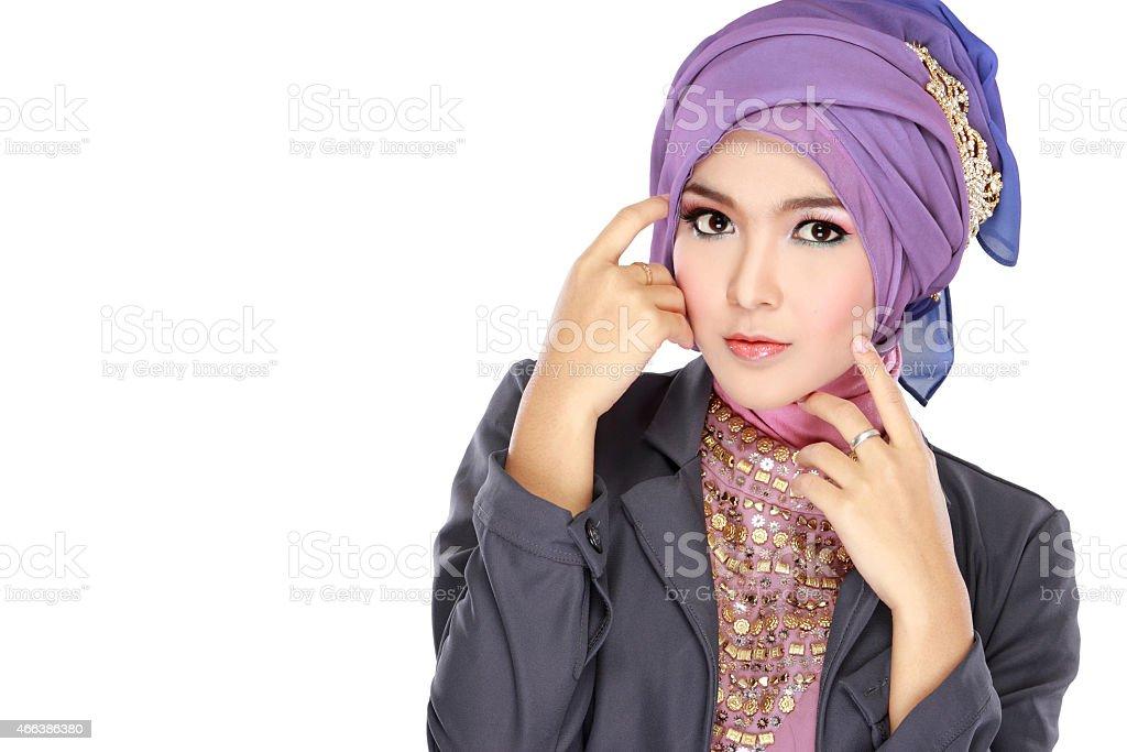 portrait of beautiful woman wearing hijab stock photo