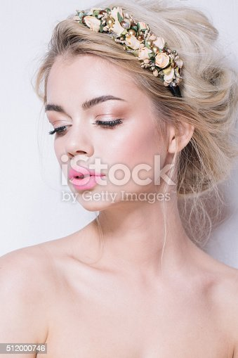 istock Portrait of Beautiful Woman Wedding Model Isolated on White Background 512000746