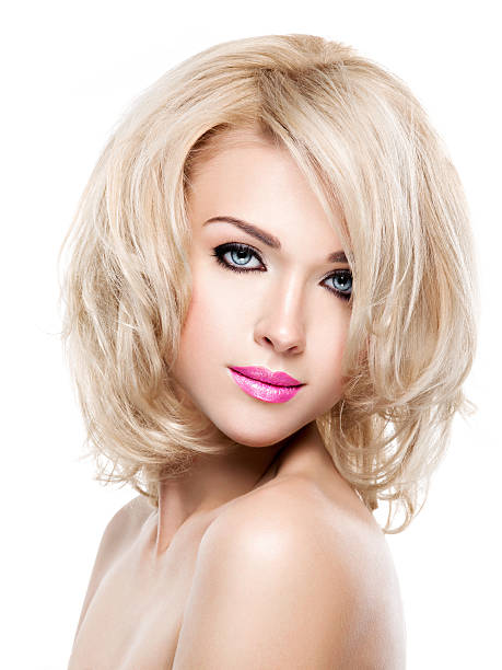 portrait of  beautiful woman with blond  hair - medium length hair stock photos and pictures