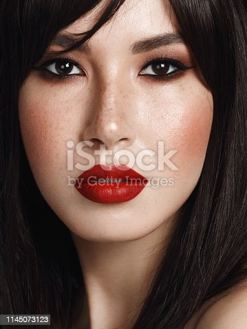 Close-up portrait of beautiful woman with cat eye make-up and red lipstick