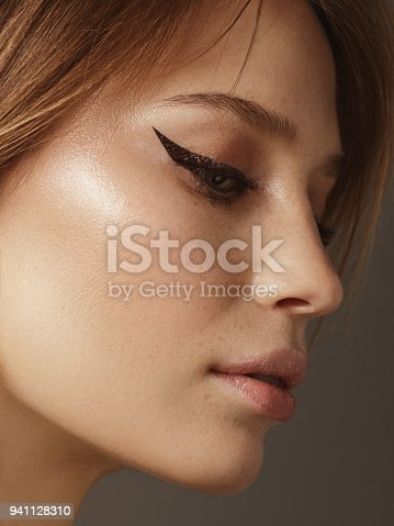 Close-up portrait of beautiful woman with cat eye make-up