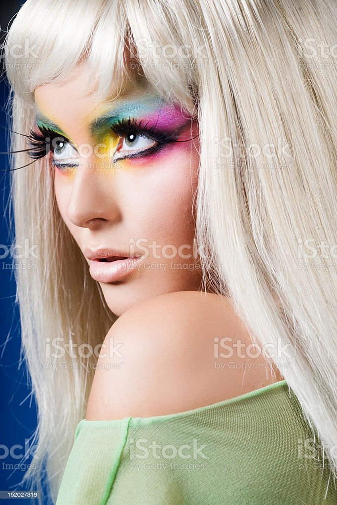 Portrait of beautiful woman with colorful makeup royalty-free stock photo