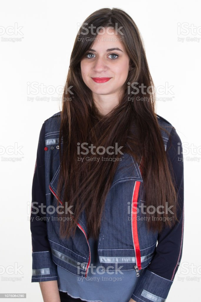 Portrait of Beautiful  Woman with Long Brown Hair. стоковое фото