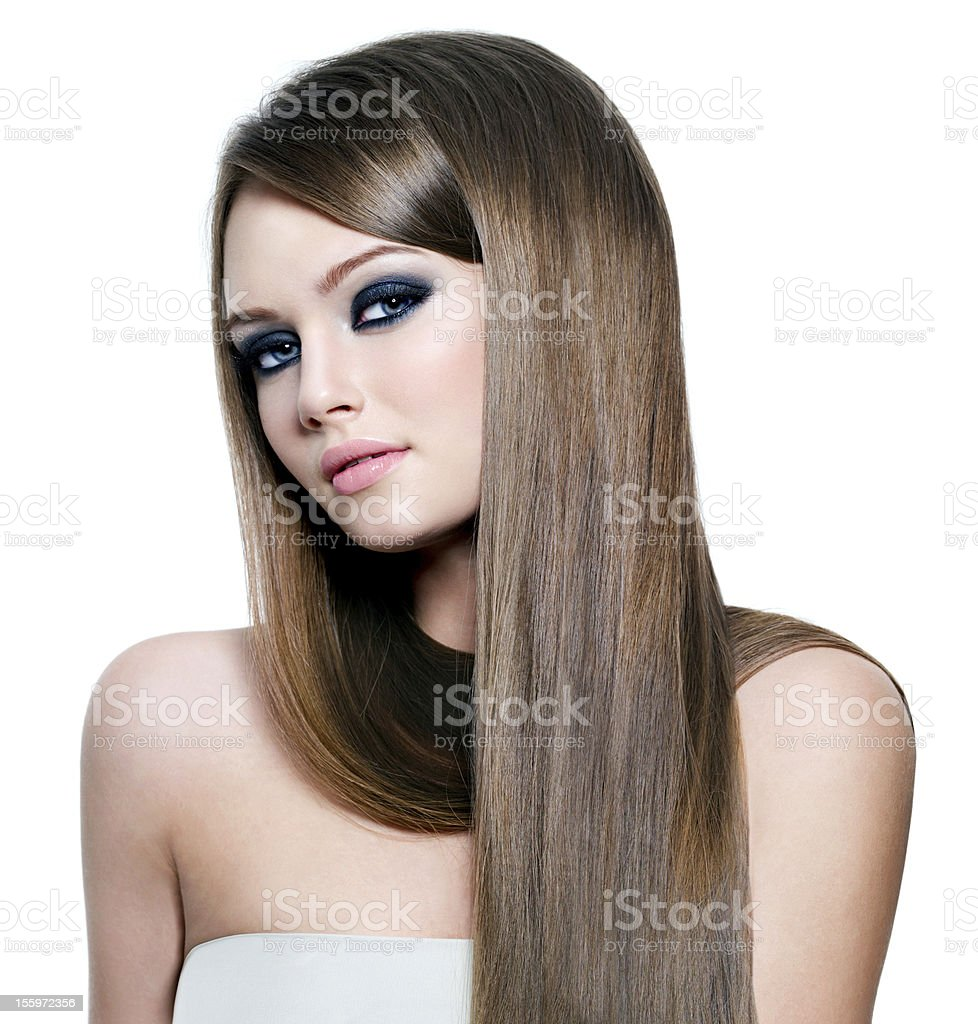Portrait of beautiful woman with long straight hair stock photo