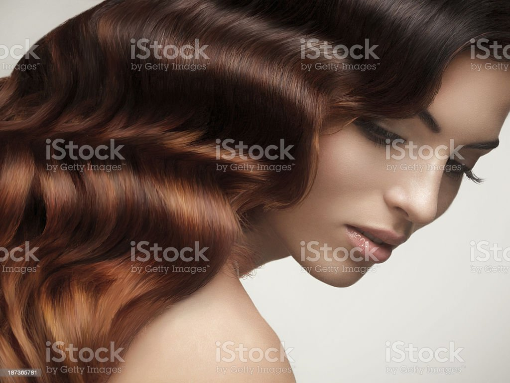 Portrait of Beautiful Woman with Long Wavy Hair. stock photo