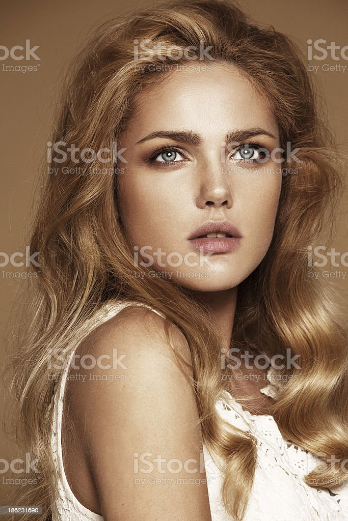 portrait of beautiful woman with nude make-up stock photo