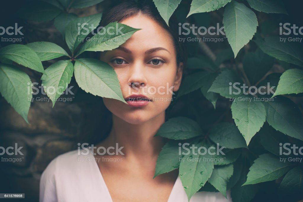 Portrait of beautiful woman without make-up stock photo