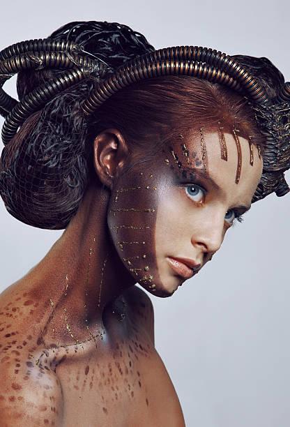 porträt von schönen frauen. airbrush-make-up. - airbrush make up stock-fotos und bilder