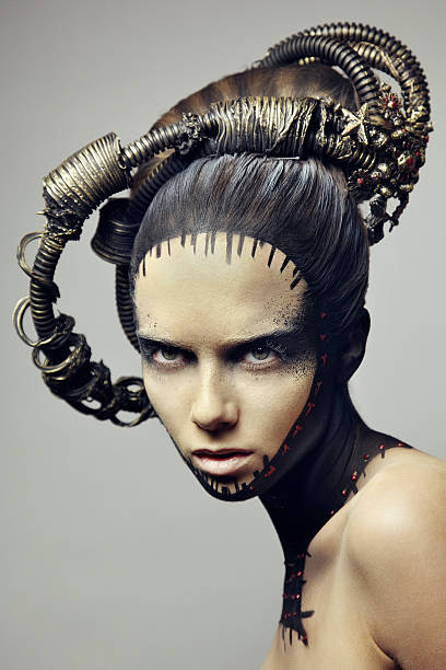 portrait of beautiful women. - steampunk fashion stock photos and pictures