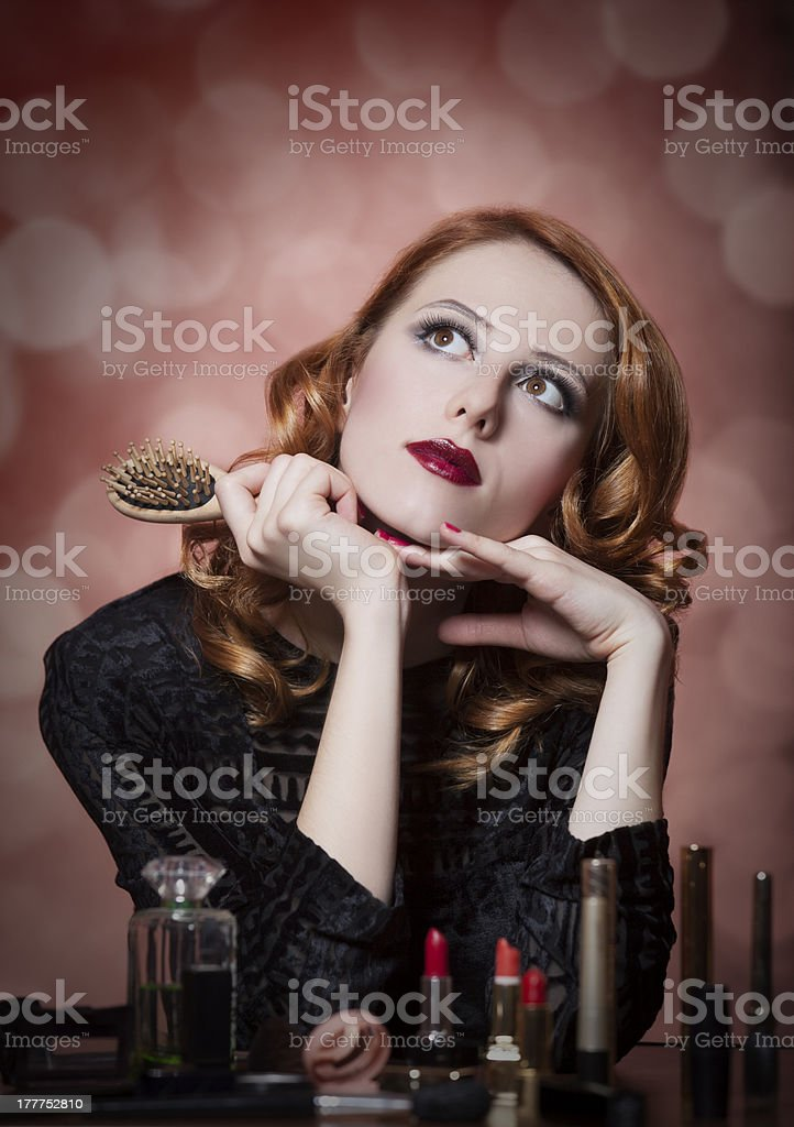 Portrait of beautiful women with cosmetics royalty-free stock photo