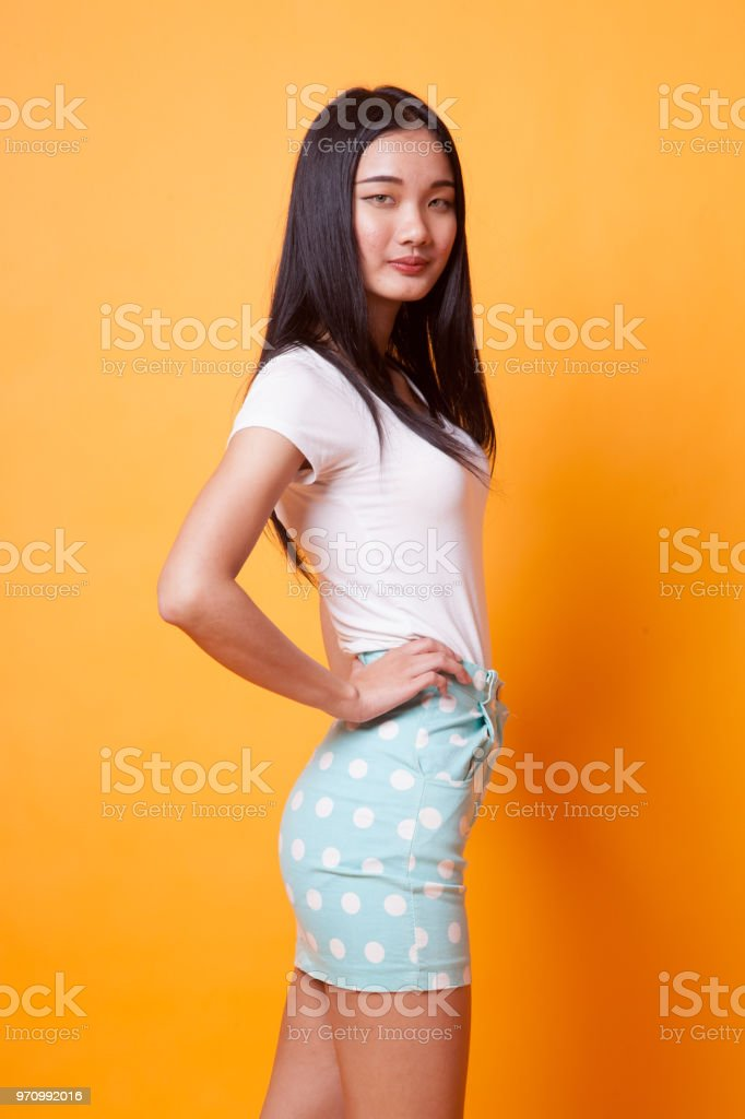 Portrait of beautiful young Asian woman. stock photo