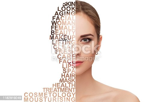 Front portrait of beautiful young blonde woman with green eyes on white background closeup. girl with clean skin