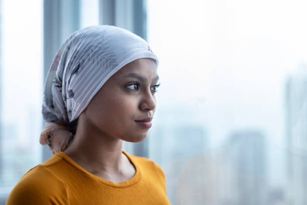 portrait of beautiful young ethnic woman with cancer - cancer patient stock pictures, royalty-free photos & images