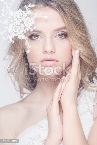 istock Portrait of Beautiful Young Fashion  Bride Isolated on White Background 517161858