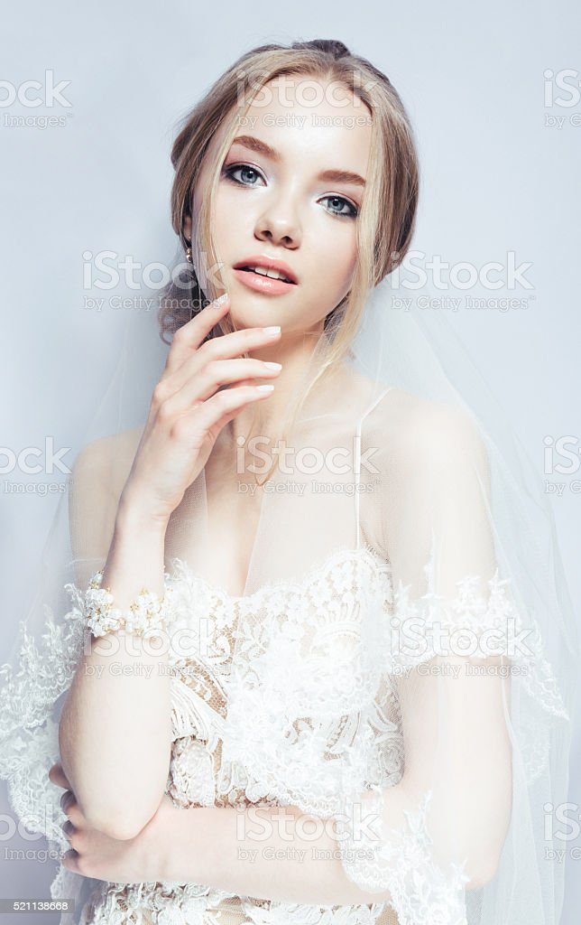 Portrait of Beautiful Young Fashion Sexy Bride Isolated . Jewelry and stock photo