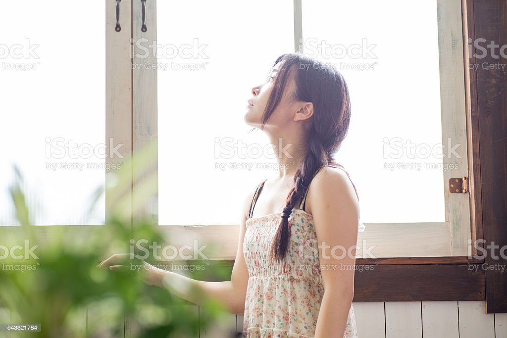 Portrait of Beautiful Young Japanese Woman stock photo