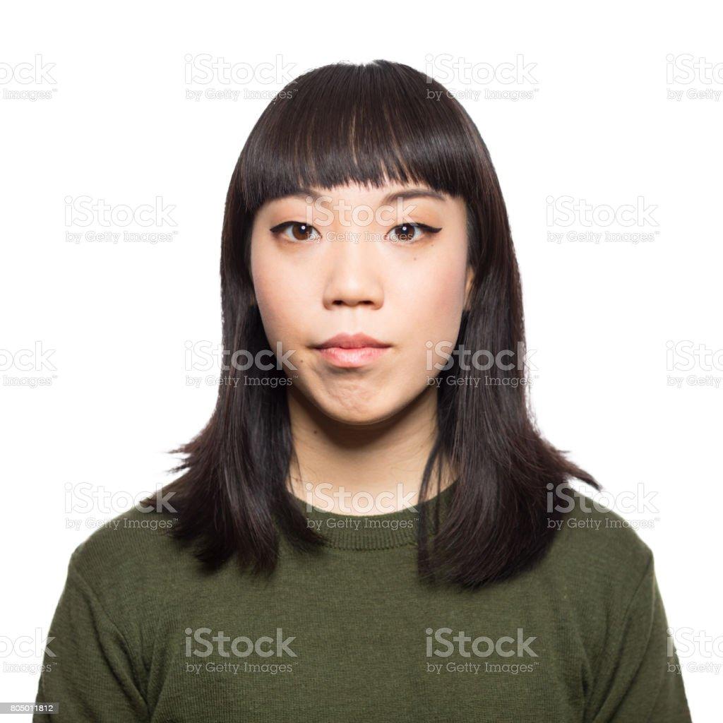 Portrait of beautiful young japanese woman stock photo