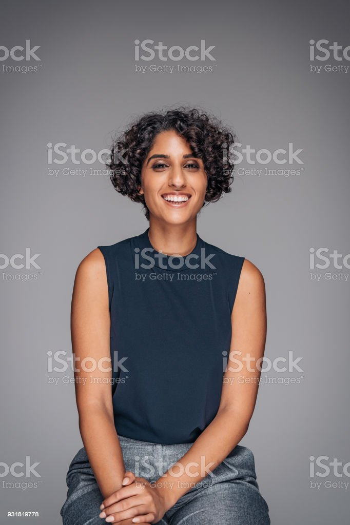 Portrait of beautiful young Middle Eastern woman stock photo