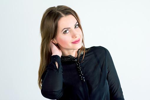 Porträtt Av Vackra Unga Leende Brunett Kvinna-foton och fler bilder på Affärskvinna