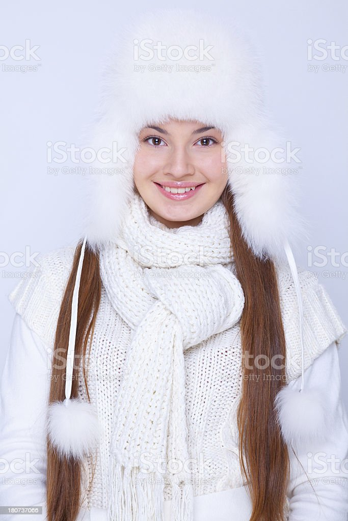 Portrait of beautiful young woman in winter clothing stock photo