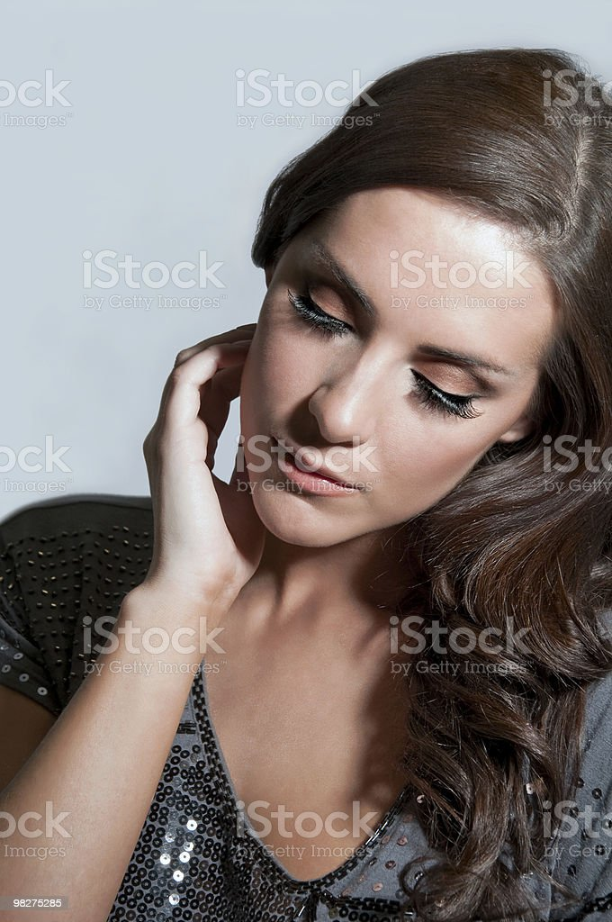 Portrait of Beautiful young woman looking thoughtful. royalty-free stock photo