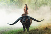 Culture of coexistence of the woman and Buffalo, Mahasarakham province, Thailand.