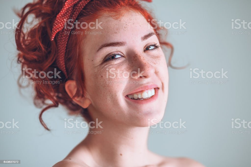 Portrait of beautiful young woman smiling stock photo