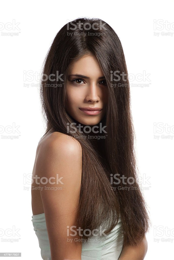 portrait of beautiful young woman with elegant long shiny hair royalty-free stock photo