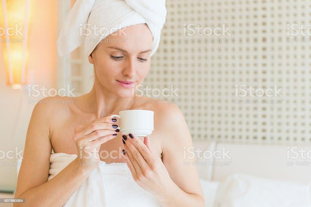 Portrait of beauty drinking a tea stock photo