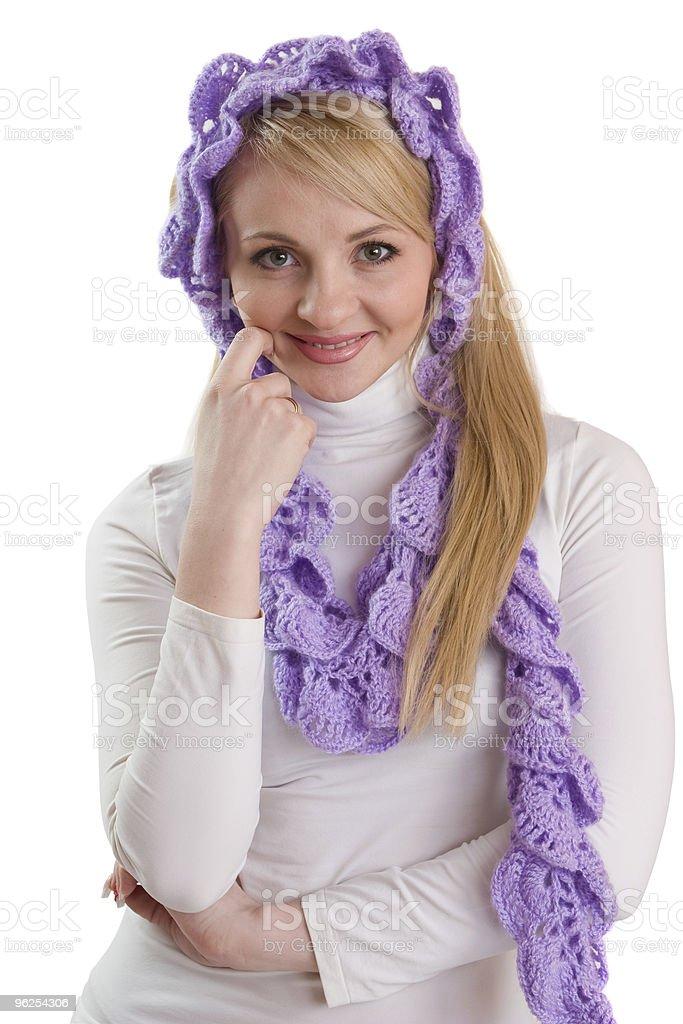 Retrato da beleza da menina com Lenço roxo. - Foto de stock de Adulto royalty-free