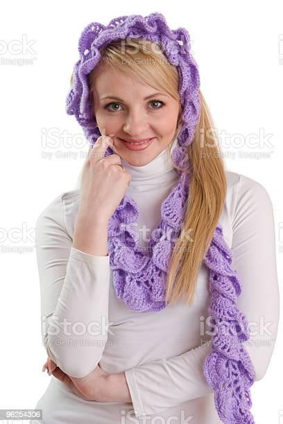 Foto de Retrato Da Beleza Da Menina Com Lenço Roxo e mais fotos de stock de Adulto