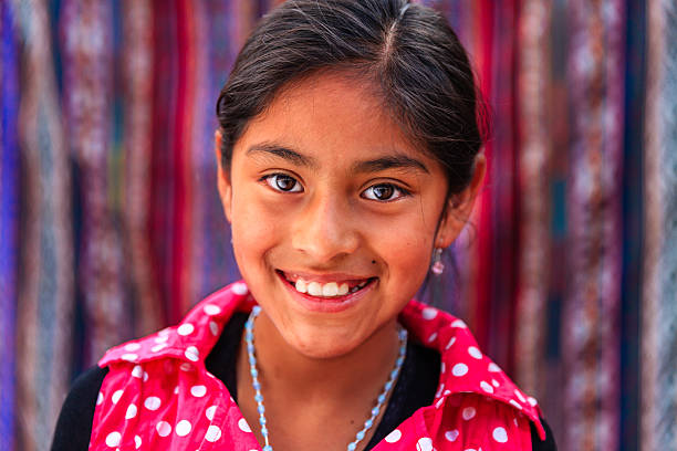 portrait of beauty peruvian girl in pisac, the sacred valley - peruvian ethnicity stock pictures, royalty-free photos & images