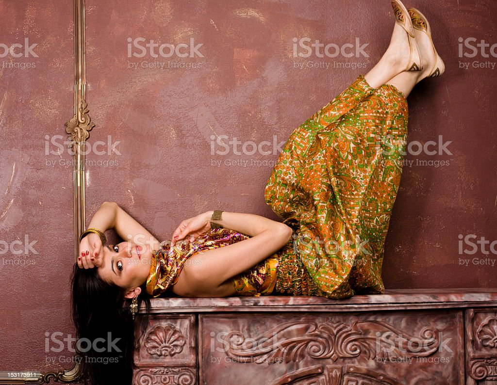 portrait of beauty sensual young woman in oriental style stock photo