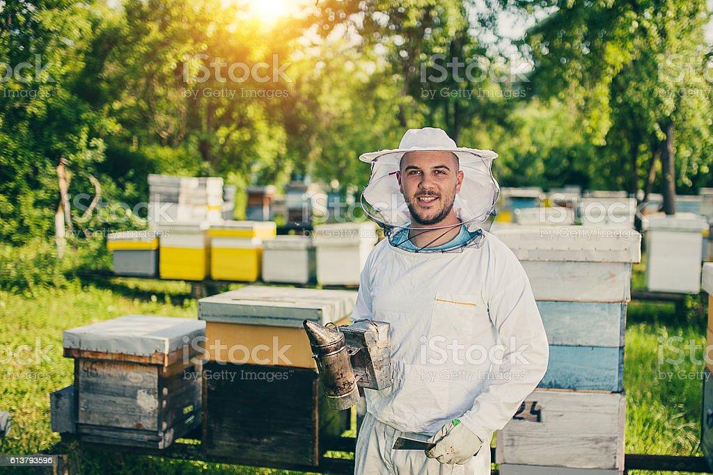 Portrait of beekeeper stock photo