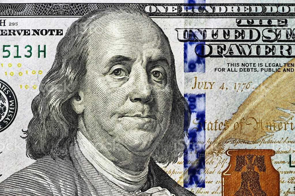 portrait of Benjamin Franklin 100 dollars close-up stock photo