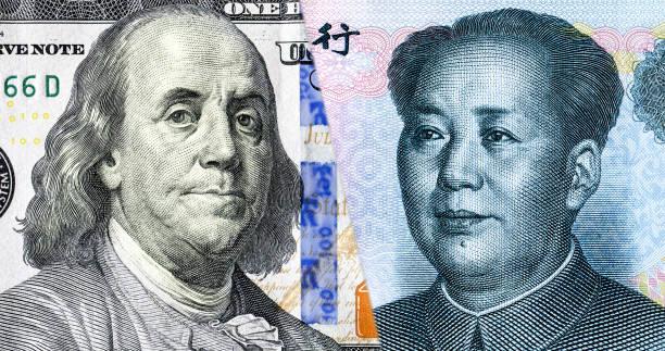 Porträt von Benjamin Franklin gegen Mao Zedong – Foto
