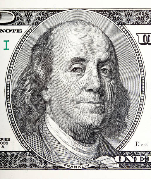 Portrait of Benjamin Franklin macro from 100 dollars bill Portrait of Benjamin Franklin macro from 100 dollars bill. High resolution photo. debt ceiling stock pictures, royalty-free photos & images