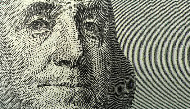 Portrait of Benjamin Franklin with copyspase  us paper currency stock pictures, royalty-free photos & images
